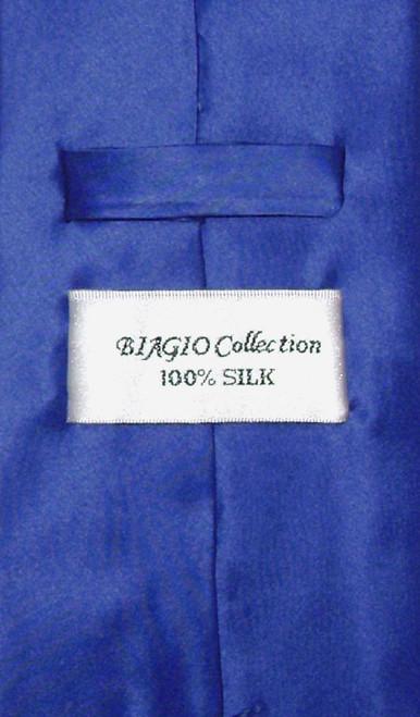 Biagio Silk Solid Royal Blue Color NeckTie Handkerchief Mens Tie Set