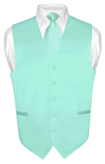 Mens Dress Vest & NeckTie Solid Aqua Green Color Neck Tie Set