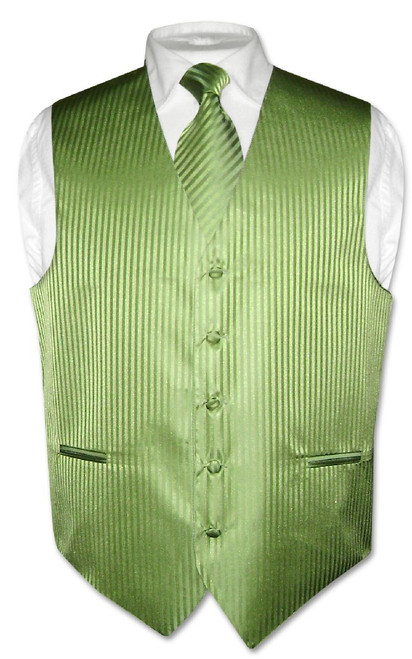 Mens Dress Vest NeckTie Spinach Green Vertical Stripe Neck Tie Set