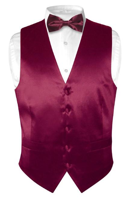 Burgundy Vest | Burgundy BowTie | Silk Vest Bow Tie Set