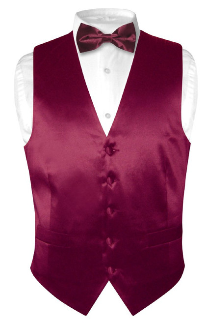 Biagio Mens Silk Dress Vest & Bow Tie Solid Burgundy Color BowTie Set