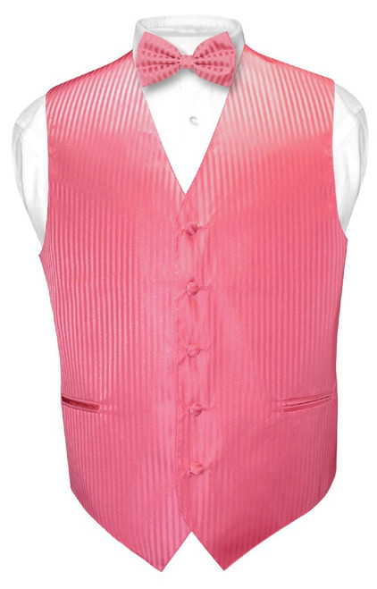 Mens Dress Vest BowTie Coral Pink Color Vertical Striped Bow Tie Set