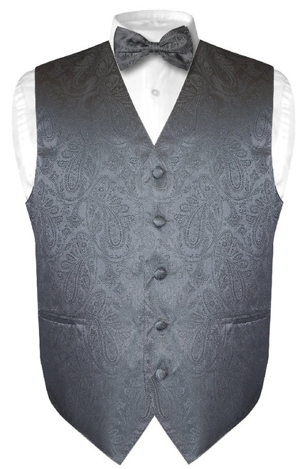 Mens Paisley Design Dress Vest Bow Tie Charcoal Grey Color BowTie Set