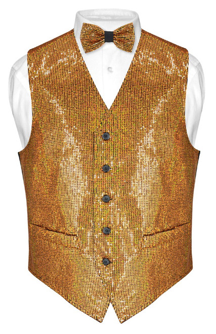 Mens SEQUIN Design Dress Vest & Bow Tie Gold Color BowTie Set