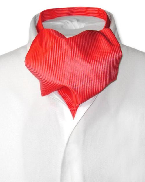 Red Cravat | Solid Color Ribbed Ascot Cravat Mens Tie