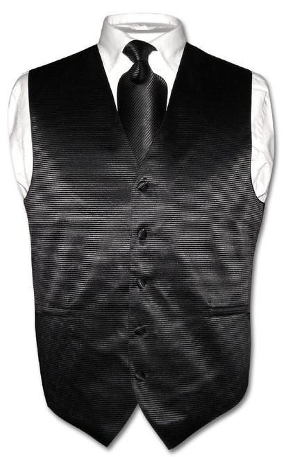 Mens Dress Vest & NeckTie Black Neck Tie Horizontal Striped Design Set