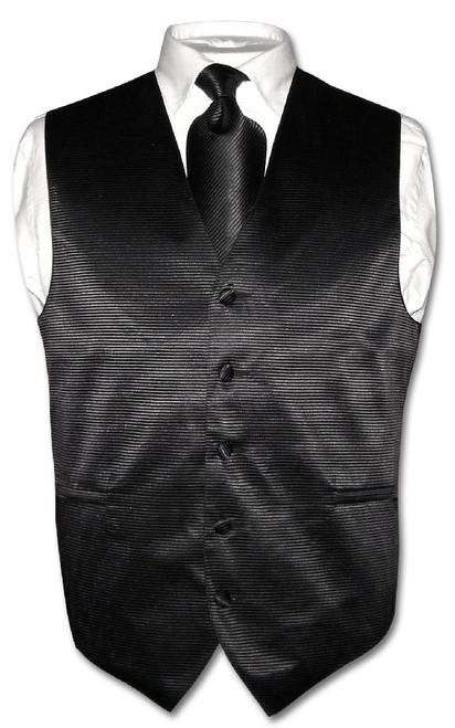 Mens Dress Vest & NeckTie Black Neck Tie Horizontal Striped Design Set
