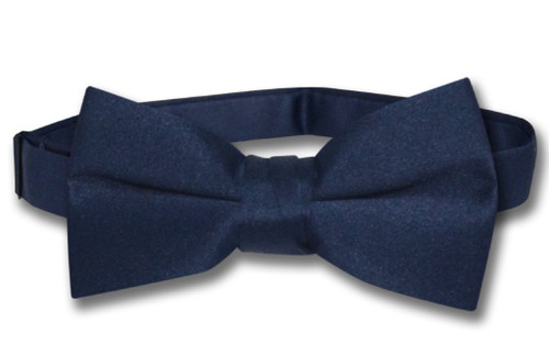 Vesuvio Napoli Boys BowTie Solid Navy Blue Color Youth Bow Tie