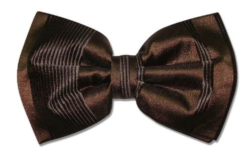 Vesuvio Napoli BowTie Dark Brown Woven Striped Design Mens Bow Tie