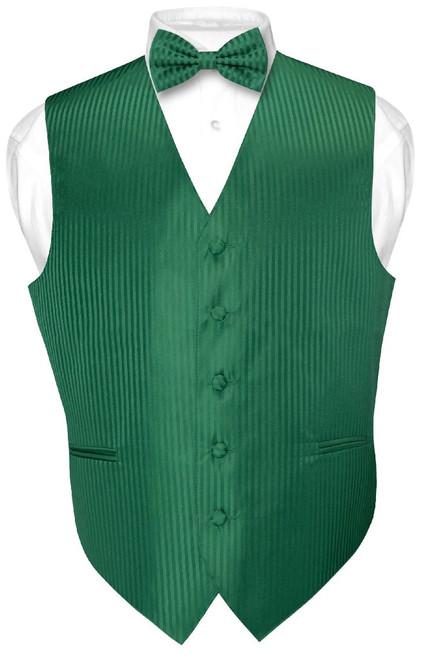 Mens Dress Vest BowTie Emerald Green Color Vertical Stripe Bow Tie Set