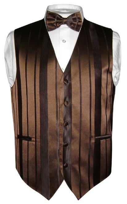 Mens Dress Vest BowTie Dark Brown Color Woven Striped Bow Tie Set