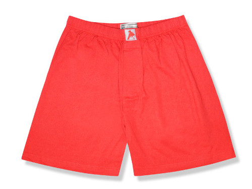 100% Knit Cotton Boxer Shorts | Biagio Mens Solid Red Color Boxers