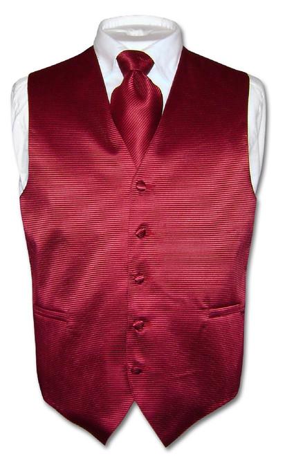 Mens Dress Vest & NeckTie Burgundy Red Neck Tie Horizontal Stripe Set