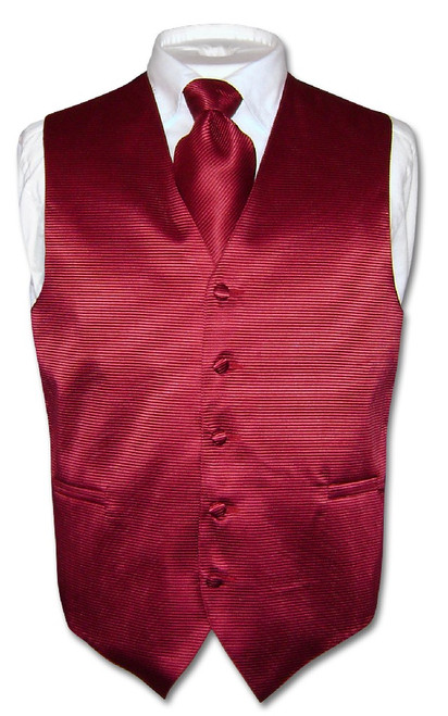 Mens Dress Vest & NeckTie Burgundy Red Neck Tie Horizontal Stripe Set