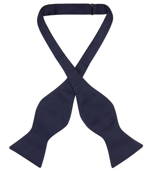 Navy Blue Self Tie Bow Tie | Mens Solid Navy Blue Bow Tie