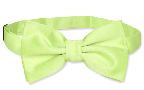 Vesuvio Napoli BowTie Solid Lime Green Color Mens Bow Tie