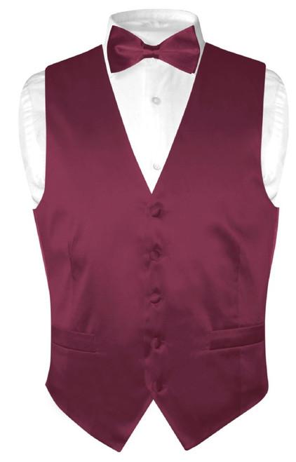 Eggplant Vest | Eggplant BowTie | Silk Solid Color Vest Bow Tie Set