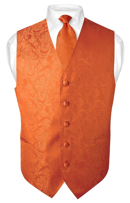 Mens Paisley Design Dress Vest NeckTie Burnt Orange Color Neck Tie Set