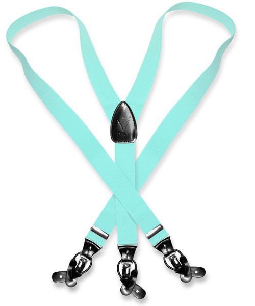 Mens Aqua Green Suspenders Y Shape Back Button & Clip Convertible