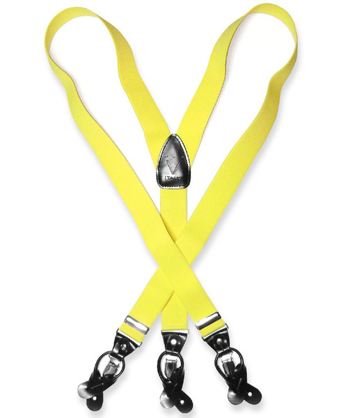 Mens Yellow Suspenders Y Shape Back Elastic Button & Clip Convertible
