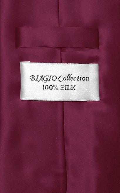 Biagio 100% Silk NeckTie Solid Eggplant Purple Color Mens Neck Tie