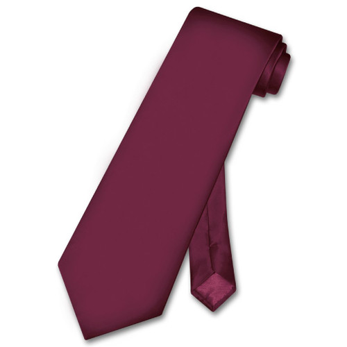 Biagio 100% Silk NeckTie Solid Eggplant Purple Color Mens Neck Tie