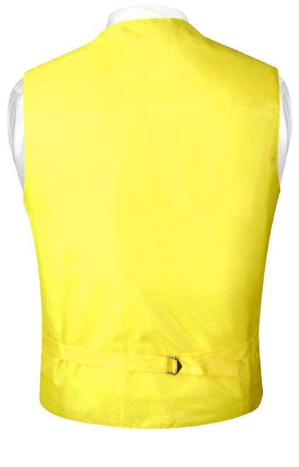 Mens Paisley Design Dress Vest & NeckTie Yellow Color Neck Tie Set