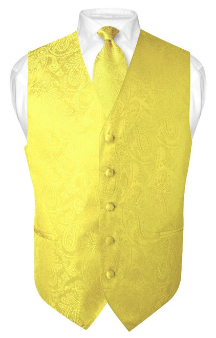 Mens Paisley Design Dress Vest & NeckTie Yellow Color Neck Tie Set