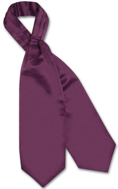 Eggplant Purple Cravat Tie | Vesuvio Napoli Mens Solid Color Ascot