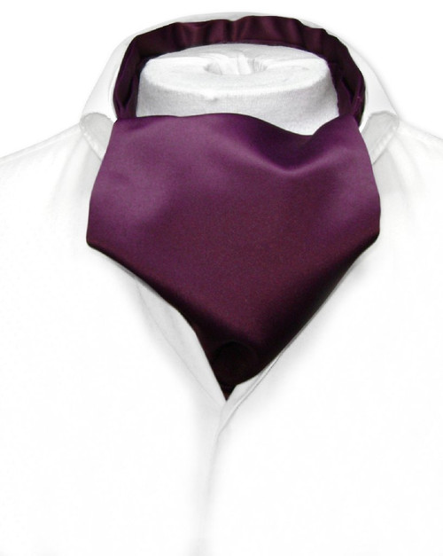 Eggplant Purple Cravat Tie   Vesuvio Napoli Mens Solid Color Ascot