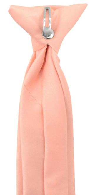 Vesuvio Napoli Boys Clip-On NeckTie Solid Peach Youth Neck Tie