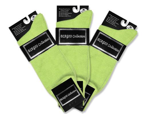 Lime Green Dress Socks | 3 Pairs Of Biagio Cotton Dress Socks