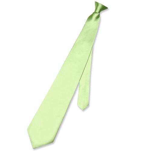 Biagio Clip-On NeckTie Solid Lime Green Color Mens Neck Tie