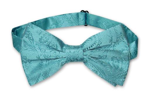 Vesuvio Napoli BowTie Turquoise Aqua Blue Paisley Mens Bow Tie