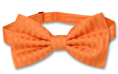 Vesuvio Napoli BowTie Orange Color Vertical Stripes Mens Bow Tie