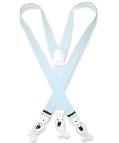 Mens Light Blue Suspenders Y Shape Back Button & Clip Convertible