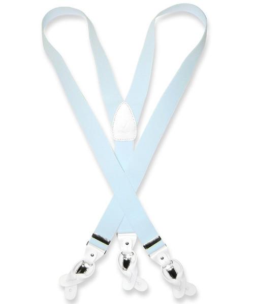 Mens Light Blue Suspenders Y Shape Back Button & Clip Convertible