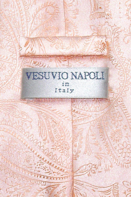 Vesuvio Napoli NeckTie Peach Color Paisley Design Mens Neck Tie