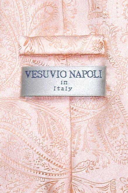 Vesuvio Napoli NeckTie Peach Color Paisley Design Mens Neck Tie