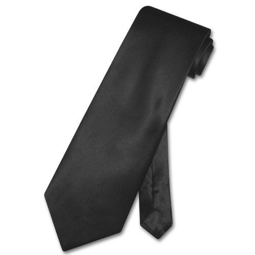 Black Silk Tie | Mens Biagio 100 Percent Silk Solid Black Necktie