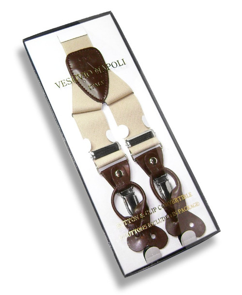 Mens Beige Suspenders Y Shape Back Elastic Button & Clip Convertible
