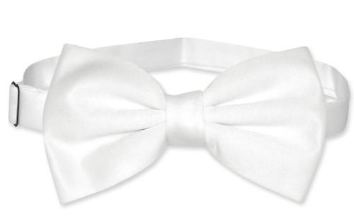 Vesuvio Napoli BowTie Solid White Color Mens Bow Tie Tux or Suit