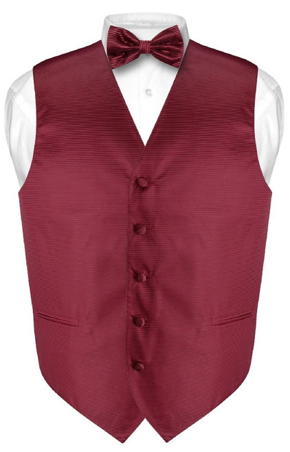 Mens Dress Vest BowTie Burgundy Red Bow Tie Horizontal Stripe Set