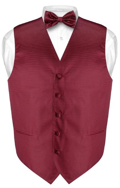 Mens Dress Vest BowTie Burgundy Red Bow Tie Horizontal Stripe Set