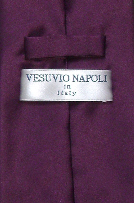 Eggplant Purple Mens NeckTie | Vesuvio Napoli Solid Color Neck Tie
