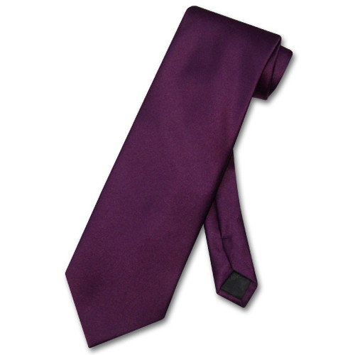 Eggplant Purple Mens NeckTie | Vesuvio Napoli Solid Color Neck Tie