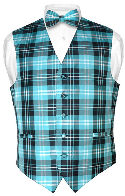 Mens Plaid Design Dress Vest BowTie Black Turquoise White Bow Tie Set