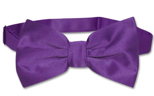 Vesuvio Napoli BowTie Solid Purple Indigo Color Mens Bow Tie