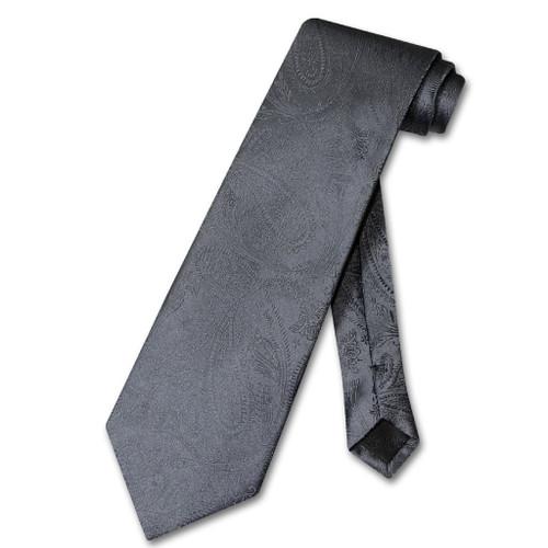 Vesuvio Napoli NeckTie Charcoal Grey Color Paisley Mens Gray Neck Tie