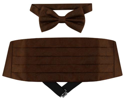 Cumberbund BowTie Chocolate Brown Paisley Mens Cummerbund Bow Tie Set